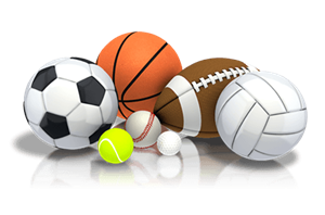 soccer ball, basketball, football, tennis ball, golf ball, baseball, volleyball
