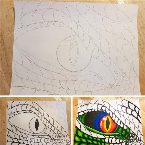 Try drawing a dragon's eye